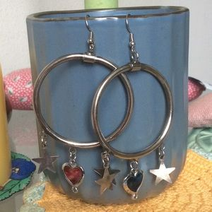 BIG Circle Hoop Star Dangle Earrings